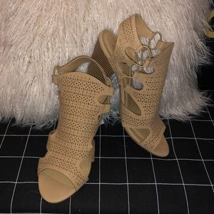 Shoes - Nude Caged Block Heels